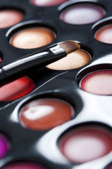 Professional Lipstick Palette And Brush Royalty Free Stock Photos