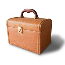 Brown Leather Box And Shadow Stock Images