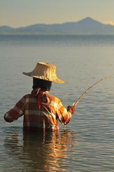 Free Thai Woman Fishing Stock Photography - 17160652