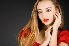 Free Girl In Red Dress Royalty Free Stock Photography - 17160727