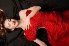 Free Girl In Red Dress Royalty Free Stock Photo - 17160735