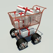 Shopping Cart Full Of Gifts Stock Photos