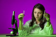 Young Girl Playing Chemist Royalty Free Stock Image