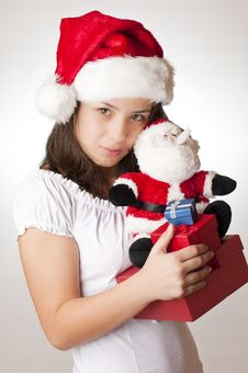 Cute Girl With Christmas Gifts Royalty Free Stock Photo