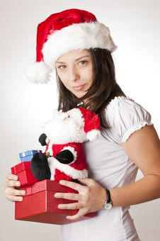 Young Girl With Christmas Gifts Royalty Free Stock Image