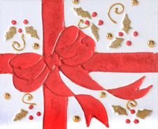 Free Christmas Red Bow Stock Image - 17161711