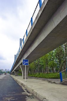 Urban Roads Under Overpass Royalty Free Stock Photo