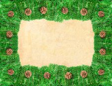 Pine Branch Christmas Frame With Copy Space Royalty Free Stock Photo