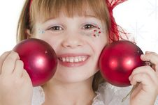 Girl Plays With Christmas Red Ball Stock Image