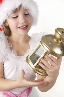 Free Little Girl Holds A Christmas Lantern Stock Photos - 17162343