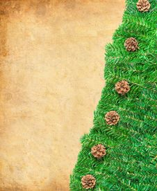 Pine Needles And Cones Framework For Christmas Royalty Free Stock Image
