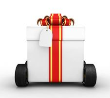 Free Gift Box On Wheels Stock Images - 17162374