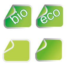 Free Green Eco Stickers Stock Image - 17162521