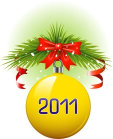 Free Yellow Christmas Ball 2011 Royalty Free Stock Images - 17162709