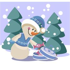 Free Snowman Color 19 Royalty Free Stock Photo - 17162725