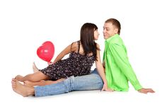 Attractive Young Adult Couple Sitting Close Stock Photos