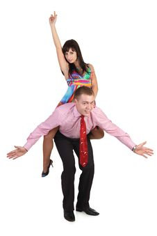 Free A Man Giving Piggyback To Woman. Stock Image - 17162871