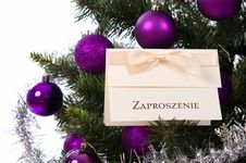 Invitation Card On Christmas Tree Stock Photos