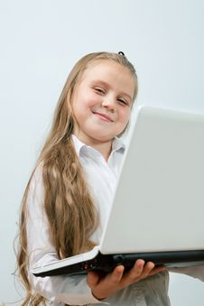 Free Funny Girl With Laptop Indoors Stock Photography - 17164312