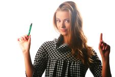 Free Blonde Girl In A Checkered Dress With Pen Stock Photo - 17164360