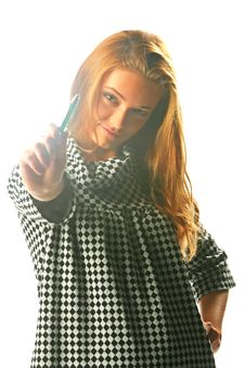 Free Blonde Girl In A Checkered Dress With Pen Stock Photos - 17164373