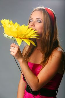 Free Girl With A Sunflower In A Pink Dress On A Grey Royalty Free Stock Photos - 17164718