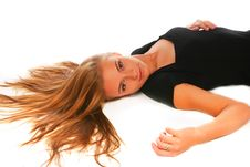 Free The Blonde In A Black Dress Lays On A White Stock Images - 17164764