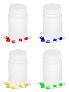 Set Of Capsule Pills And White Plastic Bot Stock Photo