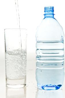 A Bottle Of Fresh Mineral Water And A Glass Stock Image