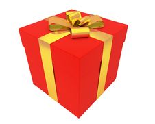 Free Bright Red Gift Box With Gold Ribbon Royalty Free Stock Images - 17167569