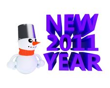 Happy Snowman Near NEW 2011 YEAR Text Royalty Free Stock Photo