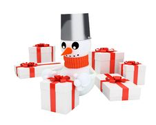 Happy Snowman Among The Pile Of Gifts Stock Images