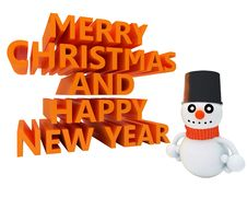 Happy Snowman Wishes Merry Christmas Royalty Free Stock Photo