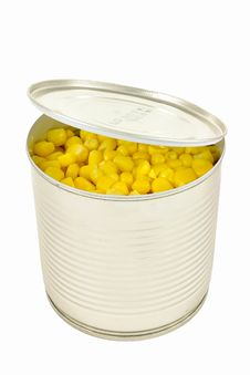 Open Can Of Corn With Lid Over White Background. Stock Photos