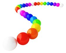 Multicolored Spheres Forming The Curve Royalty Free Stock Photography