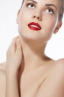 Free Beautiful Girl With Red Lips Stock Image - 17167711