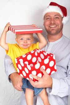 Free Baby Boy With His Father For Christmas Stock Image - 17167861