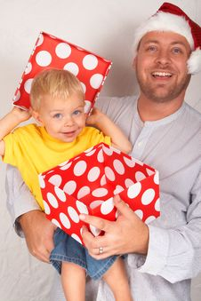 Free Baby Boy With His Father For Christmas Stock Photography - 17167862