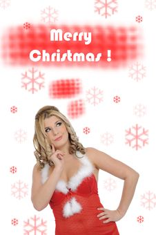 Sexy Santa Clause Woman In Party Christmas Clothes Royalty Free Stock Images