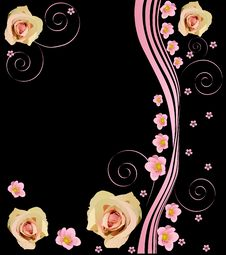 Free Pink Roses On Black Background Illustration Stock Images - 17168114