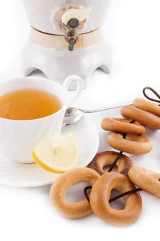 Free Samovar And Tea Cup With Bagels Stock Image - 17168571