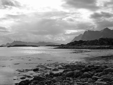 Free Beautiful Black White Landscape Lofoten Islands Royalty Free Stock Photography - 17168667