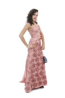 Free Attractive Woman In Elegant Pink Dress Stock Photography - 17168722
