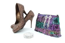 Free Shiny Shoes, Bracelet, Earings And Bag Royalty Free Stock Photography - 17168757