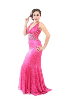Free Attractive Young Woman In Elegant Pink Dress Stock Photography - 17168842