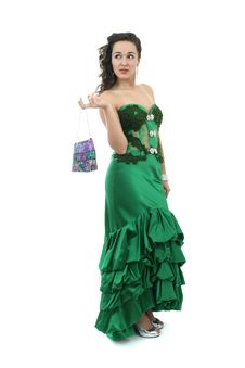 Attractive Young Woman In Elegant Green Dress Stock Images