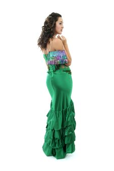 Attractive Young Woman In Elegant Green Dress Royalty Free Stock Photo