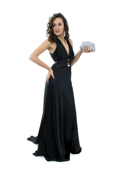 Free Attractive Young Woman In Elegant Black Dress Stock Photo - 17168960