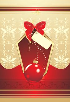 Christmas Red Ball With Bow. Wrapping Royalty Free Stock Photography