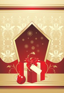 Decorative Box With Bow And Christmas Ball Royalty Free Stock Image